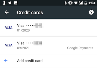Credit Card settings in Chrome